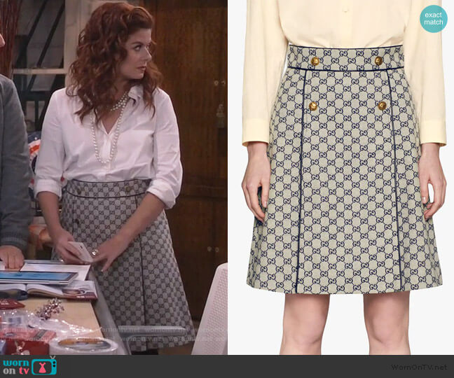 GG canvas A-line skirt by Gucci worn by Grace Adler (Debra Messing) on Will & Grace