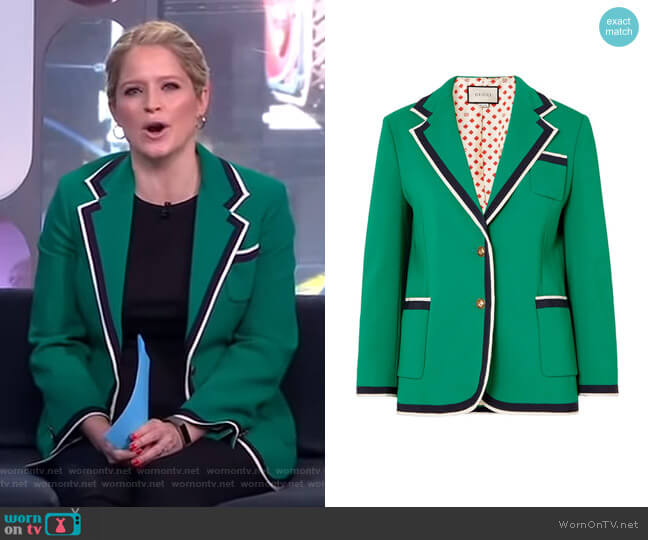 Grosgrain-Trimmed Cady Blazer by Gucci worn by Sara Haines  on Good Morning America