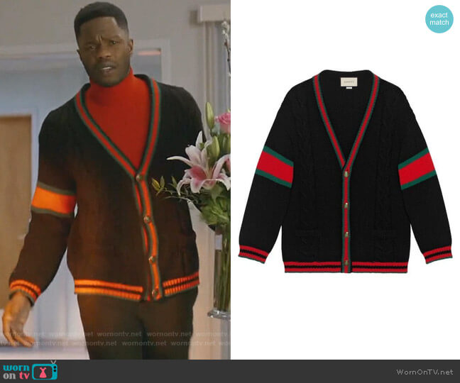Oversize Cable Knit Cardigan by Gucci (Thanks @DCFashionFool) worn by Jeff Colby (Sam Adegoke) on Dynasty