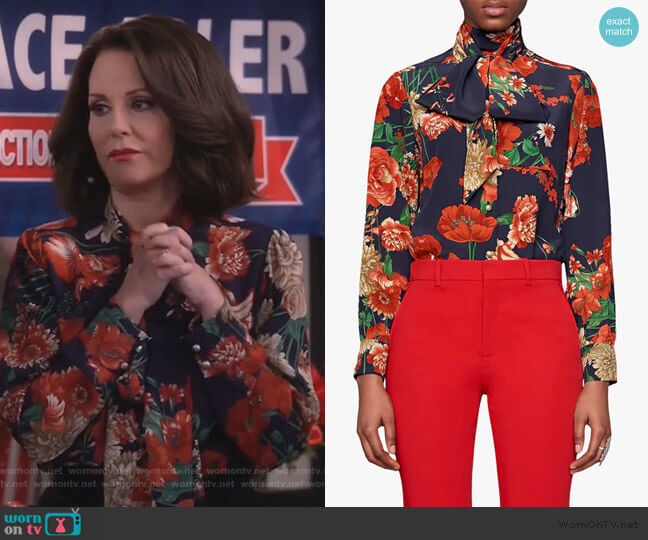 Spring Bouquet Print Tie Neck Silk Blouse by Gucci worn by Karen Walker (Megan Mullally) on Will & Grace
