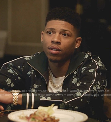 Hakeem's navy floral track jacket and pants on Empire