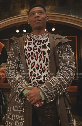 Hakeem's leopard sweater and safety pin coat on Empire
