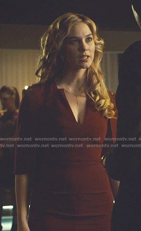 Heidi's red v-neck cutout sheath dress on Shadowhunters