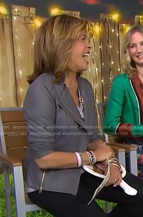 Hoda's grey moto jacket on Today
