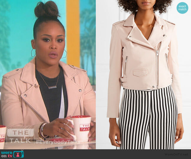 Ashville leather biker jacket in powder by IRO worn by Eve  on The Talk
