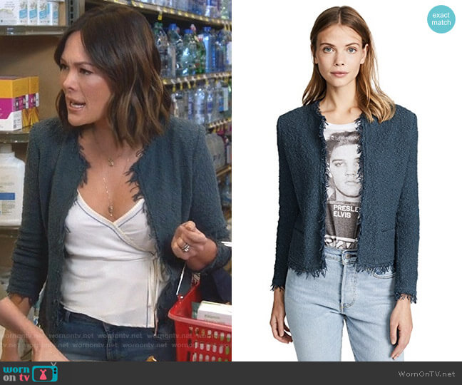 Shavani Jacket in Industrial Blue by Iro worn by Camille (Lindsay Price) on Splitting Up Together
