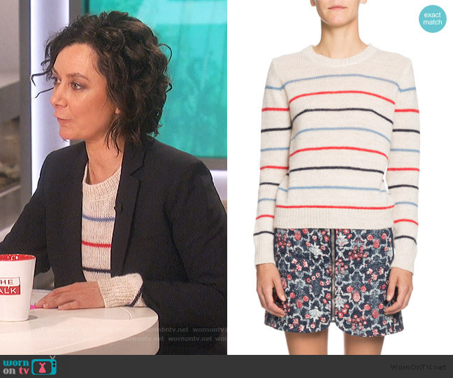 Gian Striped Alpaca-Blend Crewneck Sweater by Etoile Isabel Marant worn by Sara Gilbert  on The Talk