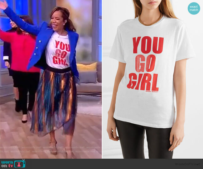 International Women's Day printed cotton-jersey T-shirt by Isabel Marant worn by Sunny Hostin  on The View
