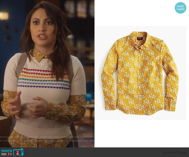 Slim perfect shirt in Liberty by J. Crew worn by Ana Torres (Francia Raisa) on Grown-ish