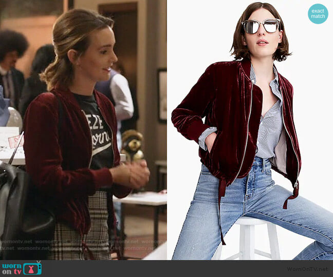 Velvet bomber jacket with waist ties by J. Crew worn by Angie (Leighton Meester) on Single Parents