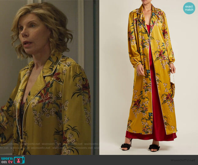 The Flower Queen silk robe by Johanna Ortiz worn by Diane Lockhart (Christine Baranski) on The Good Fight