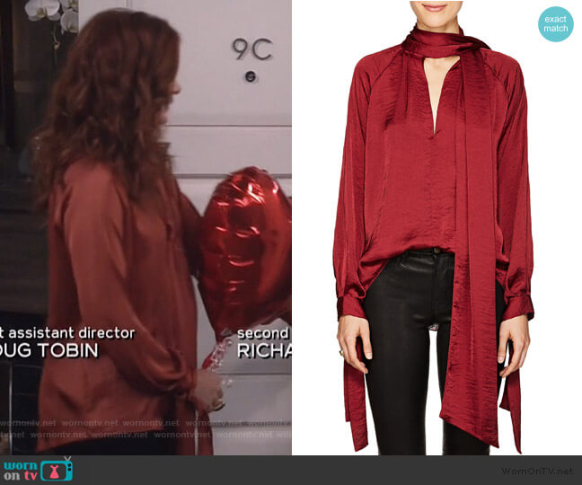 Washed Satin Tieneck Blouse by Juan Carlos Obando worn by Grace Adler (Debra Messing) on Will & Grace