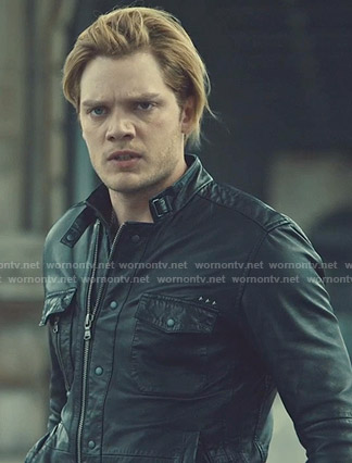 Jace's black zip front leather jacket on Shadowhunters