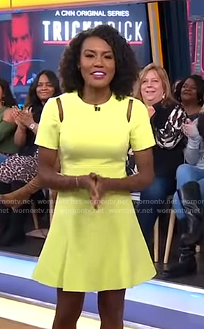 Janai's yellow cutout mini dress on Good Morning America