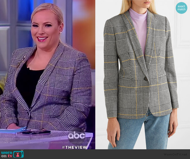 Parke Prince of Wales checked tweed blazer by J. Crew worn by Meghan McCain  on The View