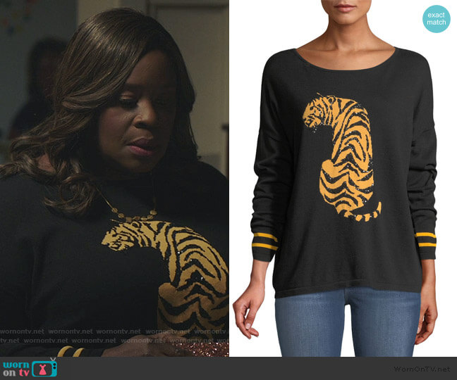 Sequin-Striped Tiger-Intarsia Sweater by Joan Vass worn by Ruby Hill (Retta) on Good Girls