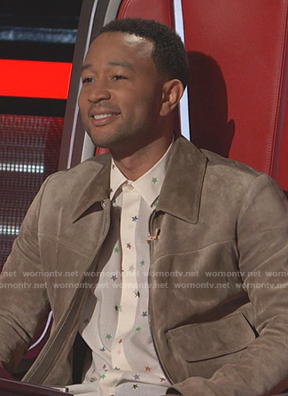 John Legend's white star print shirt on The Voice