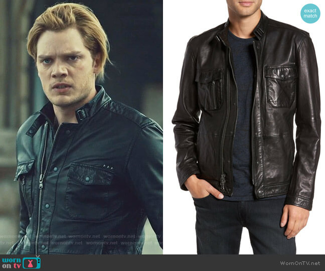 Leather Zip Front Jacket by John Varvatos worn by Jace Wayland (Dominic Sherwood) on Shadowhunters