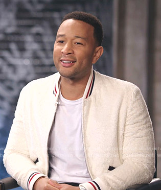 John Legend's white shearling bomber jacket on The Voice