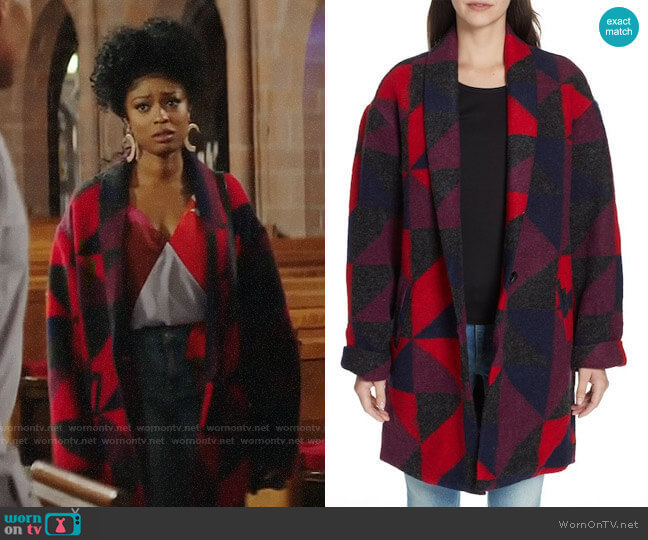 Joie Halona Blanket Coat worn by Ali Finer (Javicia Leslie) on God Friended Me