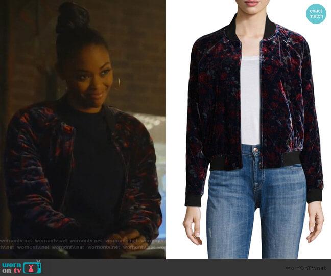Mace Floral Velvet Bomber Jacket by Joie worn by Anissa Pierce (Nafessa Williams) on Black Lightning