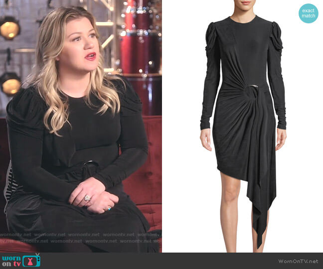 Sueded Jersey Asymmetric Wrap Dress by Jonathan Simkhai worn by Kelly Clarkson  on The Voice