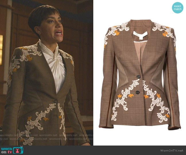Appliqué Detail Plaid Jacket by Jonathan Simkhai worn by Lucca Quinn (Cush Jumbo) on The Good Fight