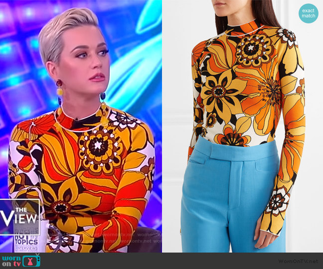 Floral jacquard-knit bodysuit by Kwaidan Editions worn by Katy Perry on The View