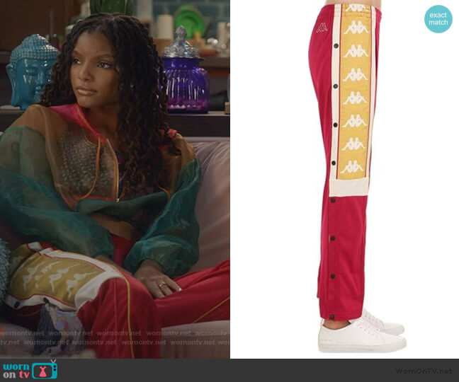 Snap Button Sweat Pants w/ logo bands by Kappa worn by Skylar Forster (Halle Bailey) on Grown-ish