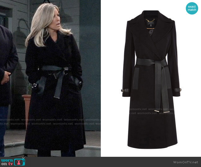 Karen Millen Belted Trench Coat worn by Carly Corinthos (Laura Wright) on General Hospital