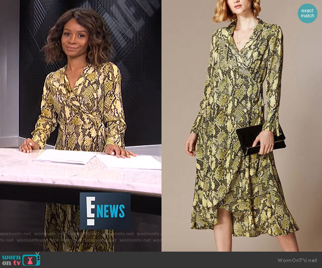 Snakeskin Print Midi Dress by Karen Millen worn by Zuri Hall (Zuri Hall) on E! News