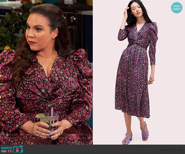 Marker Floral Devore Dress by Kate Spade worn by Gloria Calderon Kellett on Busy Phillips