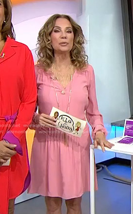 Kathie's pink v-neck long sleeve dress on Today