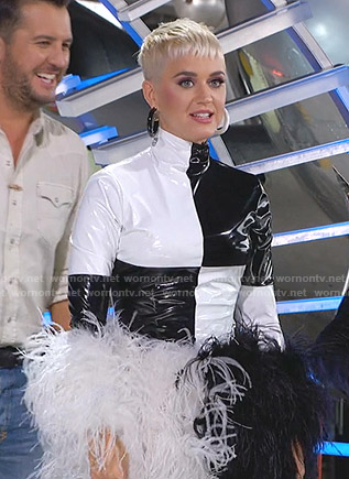 Katy's black and white feather dress on Amrican Idol
