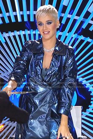 Katy's metallic trench coat on American Idol