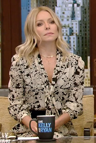 Kelly's floral tie neck midi dress on Live with Kelly and Ryan