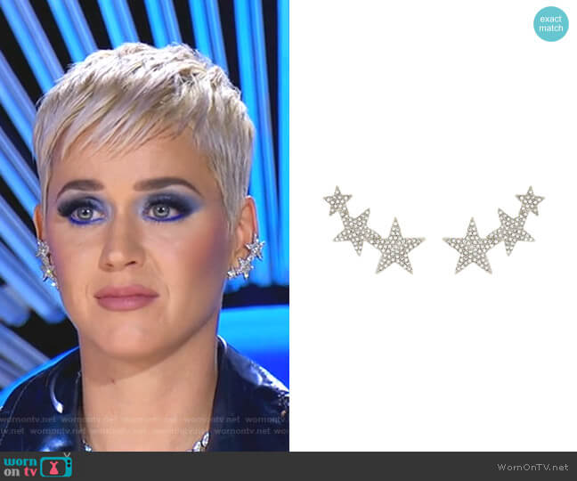Crystal Star Clip-On Earrings by Kenneth Jay Lane worn by Katy Perry  on American Idol