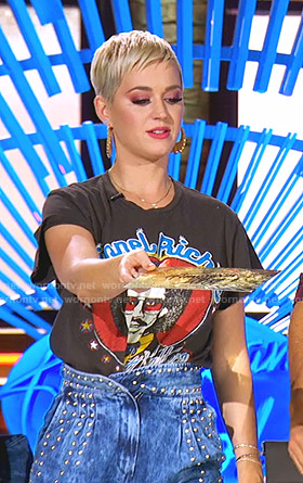 Katy's Lionel Richie tee and studded jeans on American Idol