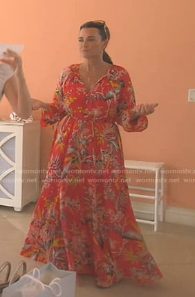 Kyle's red floral maxi dress on The Real Housewives of Beverly Hills