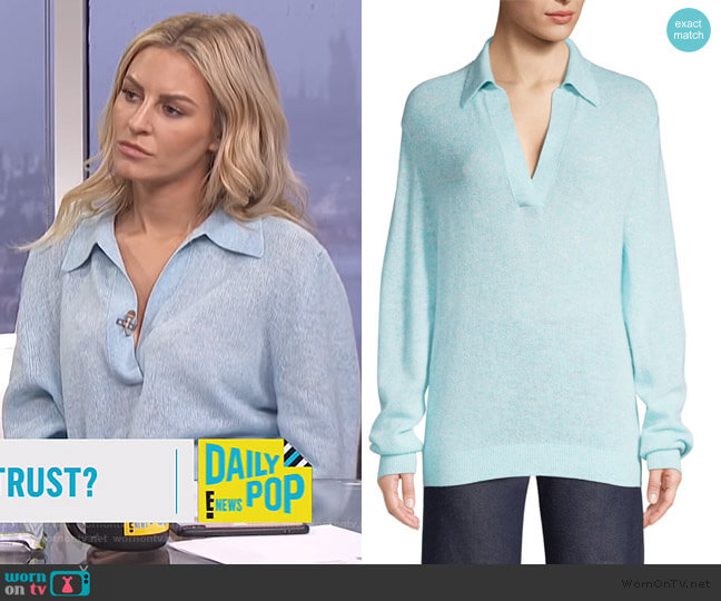 Jo Collar V-Neck Knit Top by Khaite worn by Morgan Stewart  on E! News