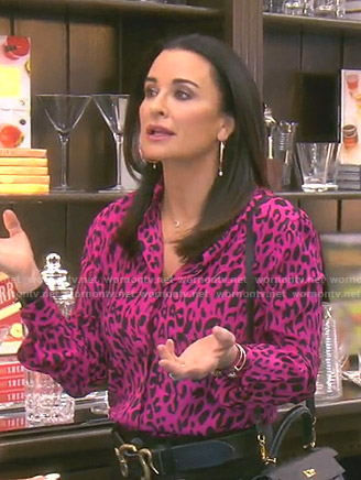 Kyle's pink leopard shirt on The Real Housewives of Beverly Hills