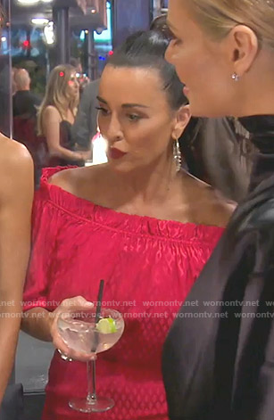 Kyle's red off-shoulder dress on The Real Housewives of Beverly Hills