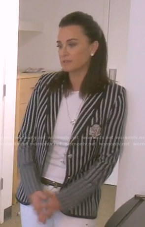 Kyle's black striped blazer with crest patch on The Real Housewives of Beverly Hills