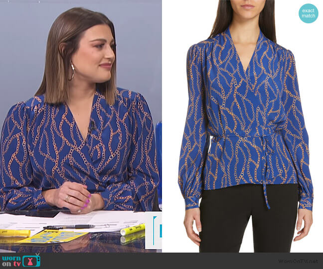 Cara Chain Print Silk Wrap Blouse by L'Agence worn by Carissa Loethen Culiner  on E! News
