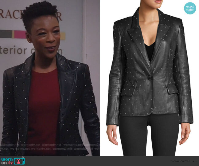 Montego Studded Leather Blazer by L'Agence worn by Samira Wiley on Will and Grace