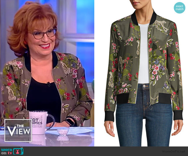 Ollie Silk Print Bomber Jacket by L'Agence worn by Joy Behar  on The View