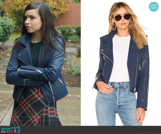 Kas Modern Biker Jacket by LTH JKT worn by Ava Jalali (Sofia Carson) on PLL The Perfectionists