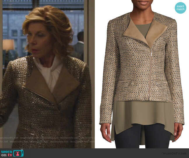 Trista Tweed & Leather Jacket by Lafayette 148 New York worn by Diane Lockhart (Christine Baranski) on The Good Fight