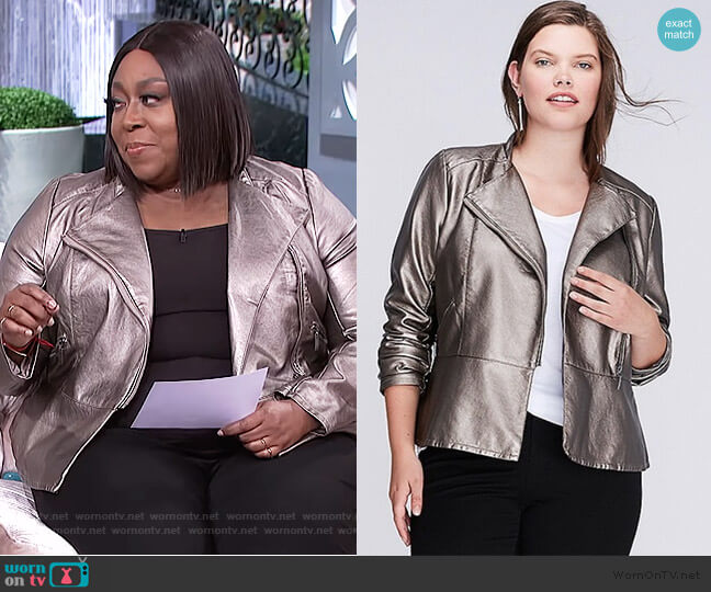 Metallic Moto Jacket by Lane Bryant worn by Loni Love  on The Real
