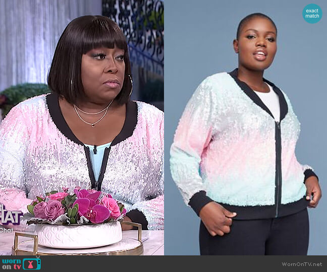 Multi-Color Sequin Bomber Jacket by Lane Bryant worn by Loni Love  on The Real